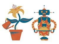 Flower plant and robot chef