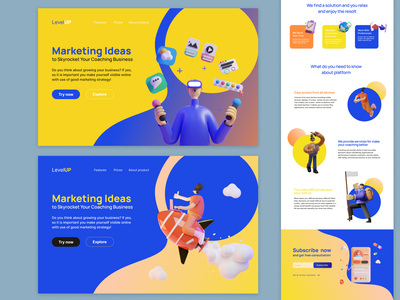 My new idea for web site design with 3D illustrations landing page layout 3d ux figma website web ui design