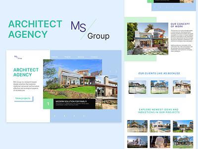 Architect agency web site design logo site landig page layout ux figma website web design ui