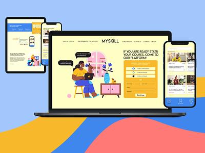 Online platform for education and skills sharing. illustration webdesign layout landing page ui website web design