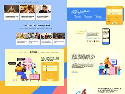 Online platform for education and skills sharing. layout landing page illustration figma adobe ui ux website web design