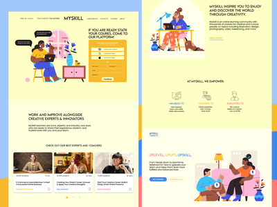 Online platform for education and skills sharing. layout landign page illustration ux figma website web ui design