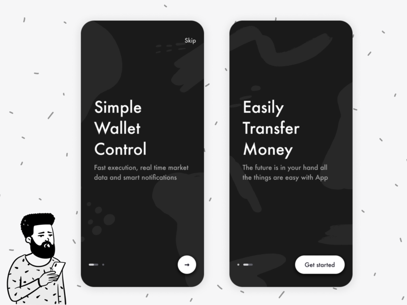 Cryptocurrency Mobile App cryptocurrency crypto wallet crypto white black ui black application onboarding ui onboarding screen onboarding ux design app ui