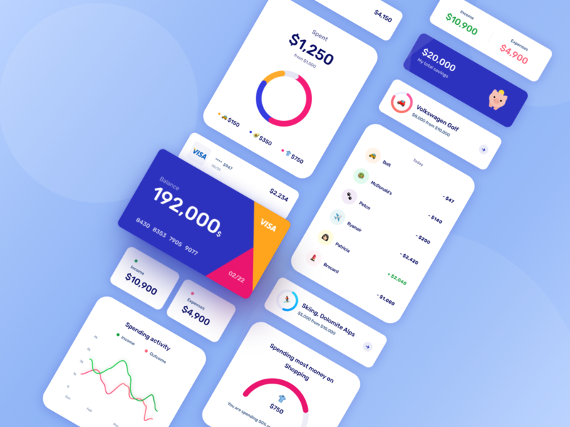 Mobile banking application goals analytics chart analysis spending transaction expense income cards ui cards card design finance app finance mobile component design ux application app ui