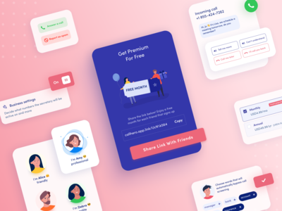 Personal assistant application UI components switcher application design share settings pricing ai secretary assistant premium incoming call tags call elements components mobile application ux design app ui