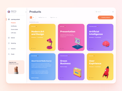 Coursebook — Your Education Platform visual design sidebar product list platform design platform course app cards cards ui colorful web app courses list course learning platform learning education design ux ui