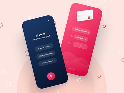 Voice assistant in mobile banking 🎙 money transfer transfer voice assistant assistant banking cards finance app finance mobile application app ux ui design