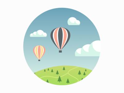 Hot Air Balloons happy scenic hot air balloon balloon cloud hill illustration