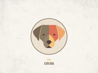 50% Cocoa branding icon packaging illustration label coca lab chocolate dog