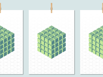 Blocks grid 3d pattern poster illustration
