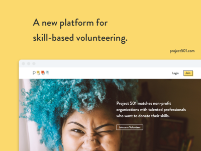 Project 501 non-profit volunteering gig platform web
