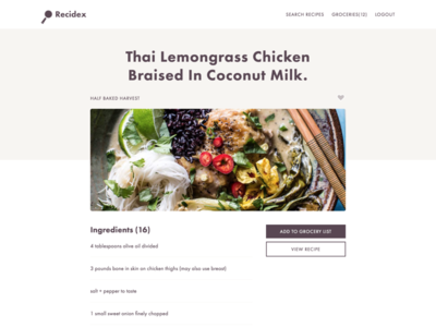 Recidex Recipe View minimalist flat ingredient list cooking recipe
