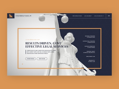 Unique homepage design for a law firm