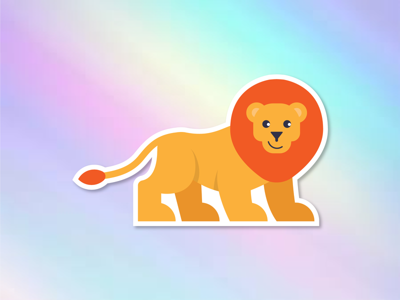 Lion Sticker sticker holographic design lion animal illustration
