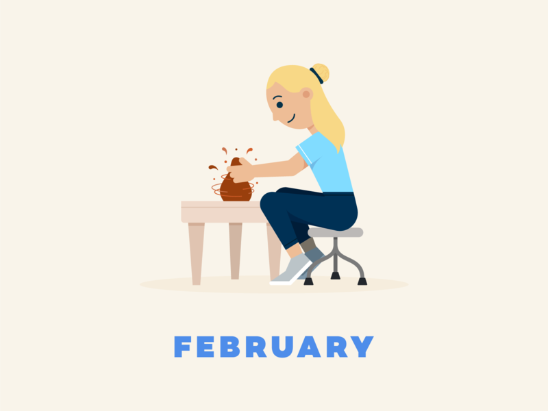 February → Pottery series craft pottery throwing pottery wheel pottery flat illustration design illustration