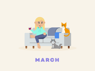 March → Wine Time series flat illustration social distancing quarantine couch cat wine design illustration