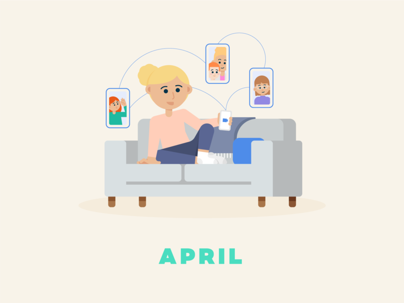 April → Facetime couch family video zoom facetime social distancing quarantine flat illustration design illustration