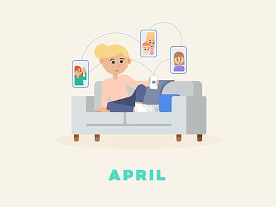 April → Facetime couch family video zoom facetime social distancing quarantine flat illustration design illustration