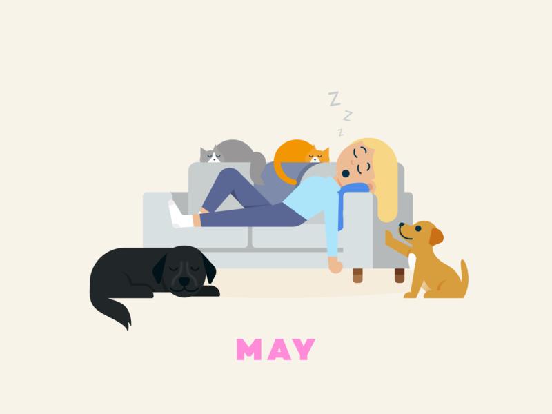 May → Nap Time couch dog cat nap social distancing quarantine flat illustration design illustration