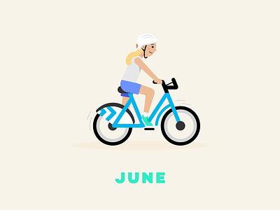 June → Divvy Bike chicago divvy biking bike series illustration flat illustration design