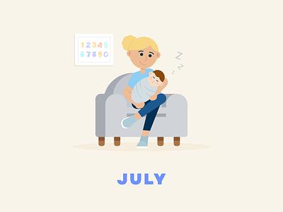 July → Baby Nephew sleeping baby series flat illustration design illustration