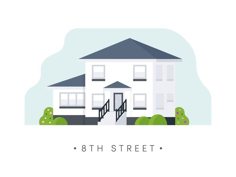 IOWA small town iowa home house design illustration