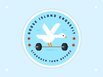 Goose Island CrossFit badge sticker barbell weightlifting crossfit logo crossfit goose typography vector branding logo icon design illustration