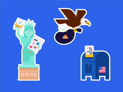Election 2020 Stickers! vote stickers statue of liberty rise up mail in ballot mailbox illustration election 2020 election eagle dump trump design biden ballot