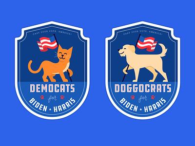 Democats & Doggocrats for Biden Harris! usa doggocrat democat dog cat democrat biden illustration vote 2020 vote election
