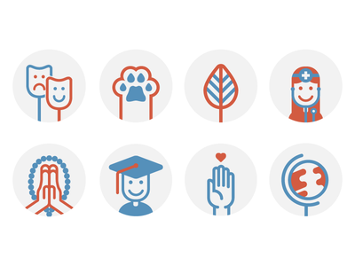 Public Good Icons work icons religion nonprofits iconography human services health environment education charity arts and culture animals