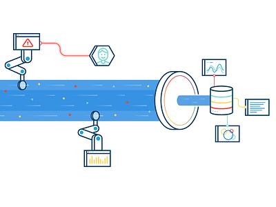 The Data Stream analytics iot data warehouse graph alert data stream tech data illustration