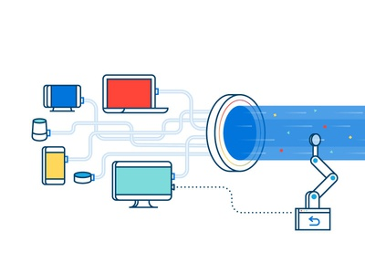 The Data Stream analytics iot illustration data tech data stream alert graph data warehouse