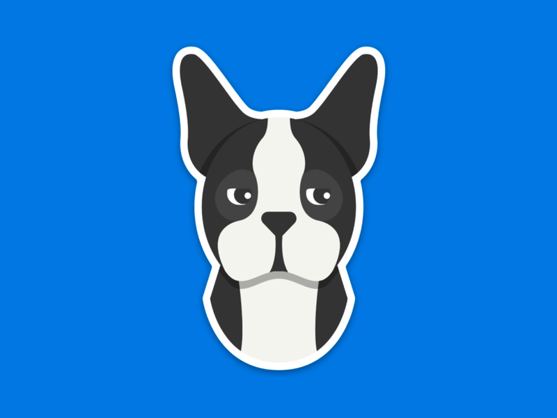 Domino! puppy unamused side eye sassy boston terrier dog stickermule sticker icon design illustration