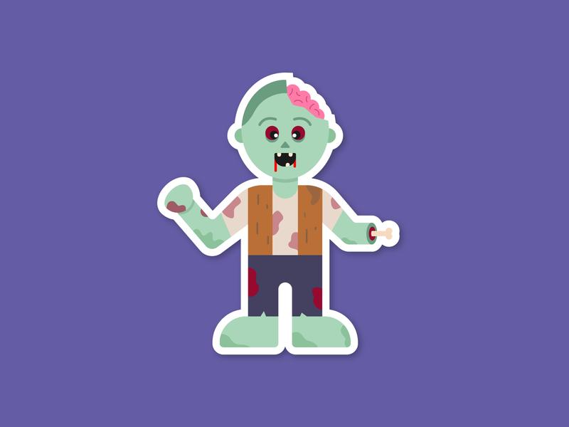 Sticker Mule Zombie! dead zombie rebound sticker mule spooky scary halloween fall design illustration
