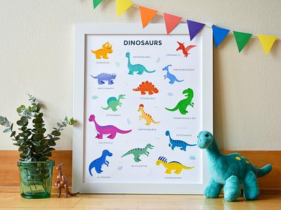 Dinosaurs velociraptor spinosaurus tyrannosaurus rex jurassic park triceratops brontosaurus poster dinosaurs dinosaur design illustration