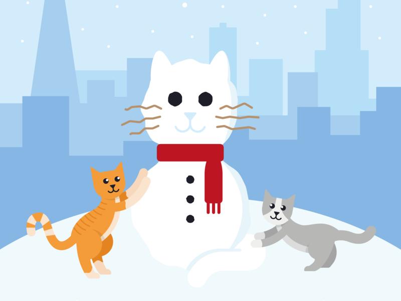 Christmas 2018 skyline snow chicago snowman cat holiday card holiday christmas design illustration