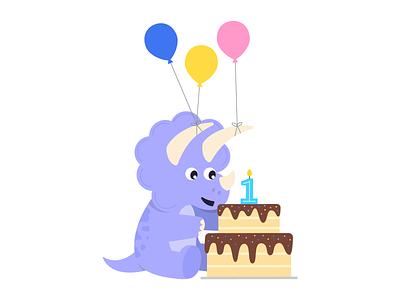 Party Triceratops! cute dinosaur balloons cake birthday cake birthday party triceratops vector dinosaur design illustration
