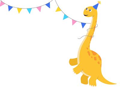 Party Brontosaurus! banner decor birthday party brontosaurus cute dinosaur dino vector dinosaur design illustration