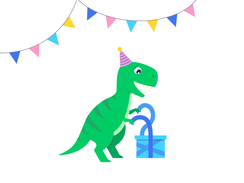 Party T-Rex! cute dinosaur tyrannosaurus rex t-rex gift present party birthday vector dino dinosaur design illustration