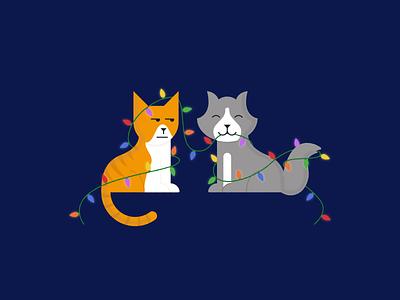 Christmas Kittehs 2019 christmas illustrator vector mischief lights cat illustration holiday card holiday christmas lights christmas card