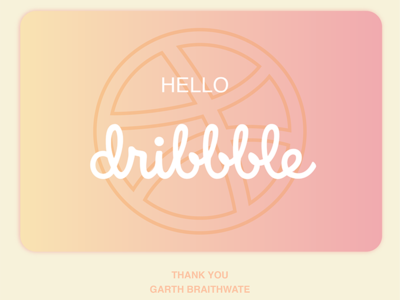 Dribbbble 1st shot typography gradients hello dribble discover color 1st shot