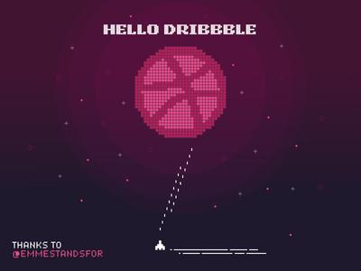 Hello Dribbble! retro debut dribbble illustration space hello shot first