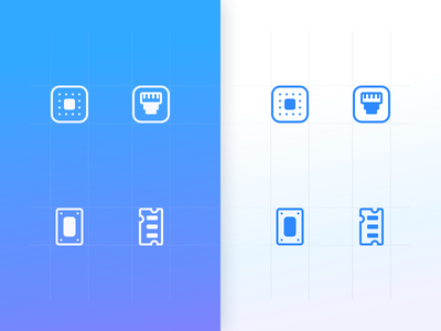Hardware icon set ui elements network hardware electric blue icons design icons set design