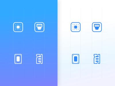 Hardware icon set ui elements network hardware electric blue icons design icons set design