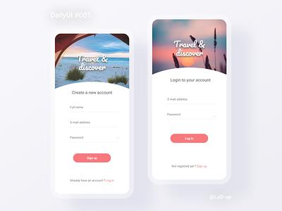 DailyUI  001 - Sign up / Login visual design minimalist log in ui design figma daily ui daily 100 challenge concept app