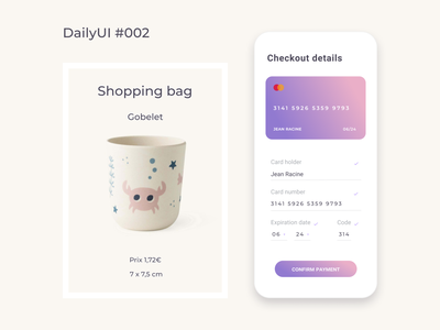 DailyUI  002 - Credit card Checkout daily 100 challenge checkout visual design minimalist figma design dailyui 002 daily ui dailyui concept app