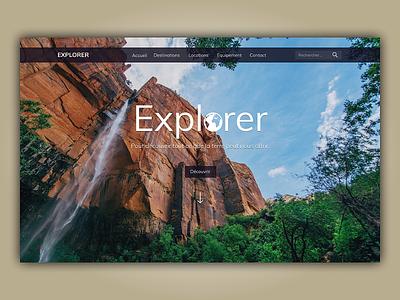 Explorer travel website homepage header design nature web ui