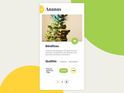 Ananas App pineapple yellow green mobile ui design