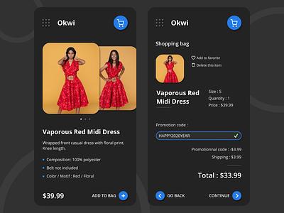 Okwi shopping app dark theme fashion e-commerce shop figma concept dress shopping cart shopping app app website design ui