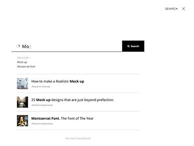 Full Screen Live Search Mockup